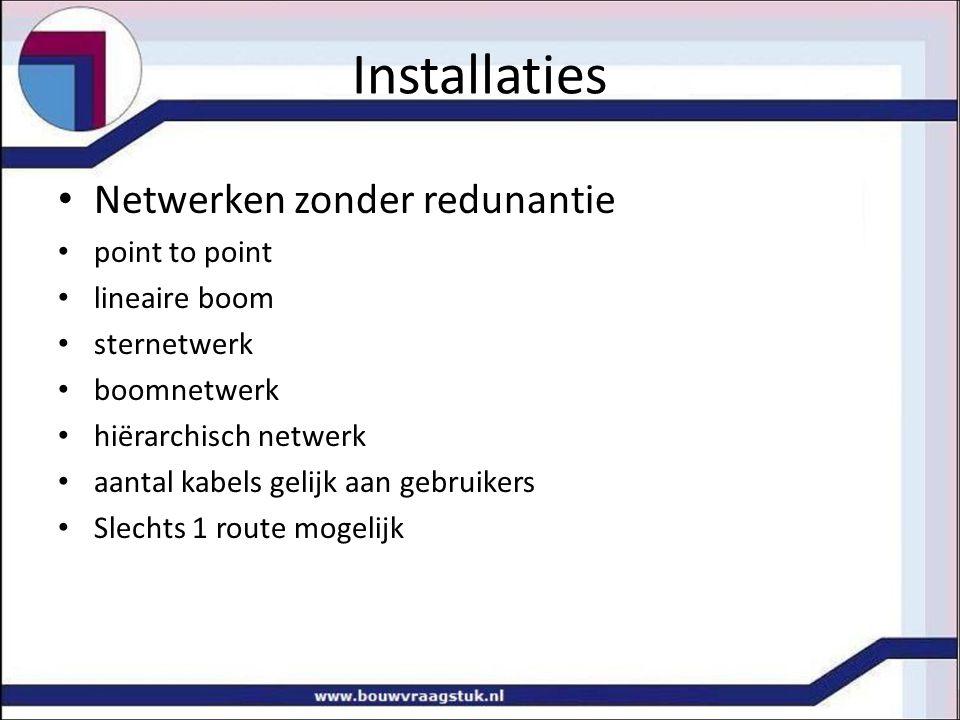 Installaties Netwerken zonder redunantie point to point lineaire boom