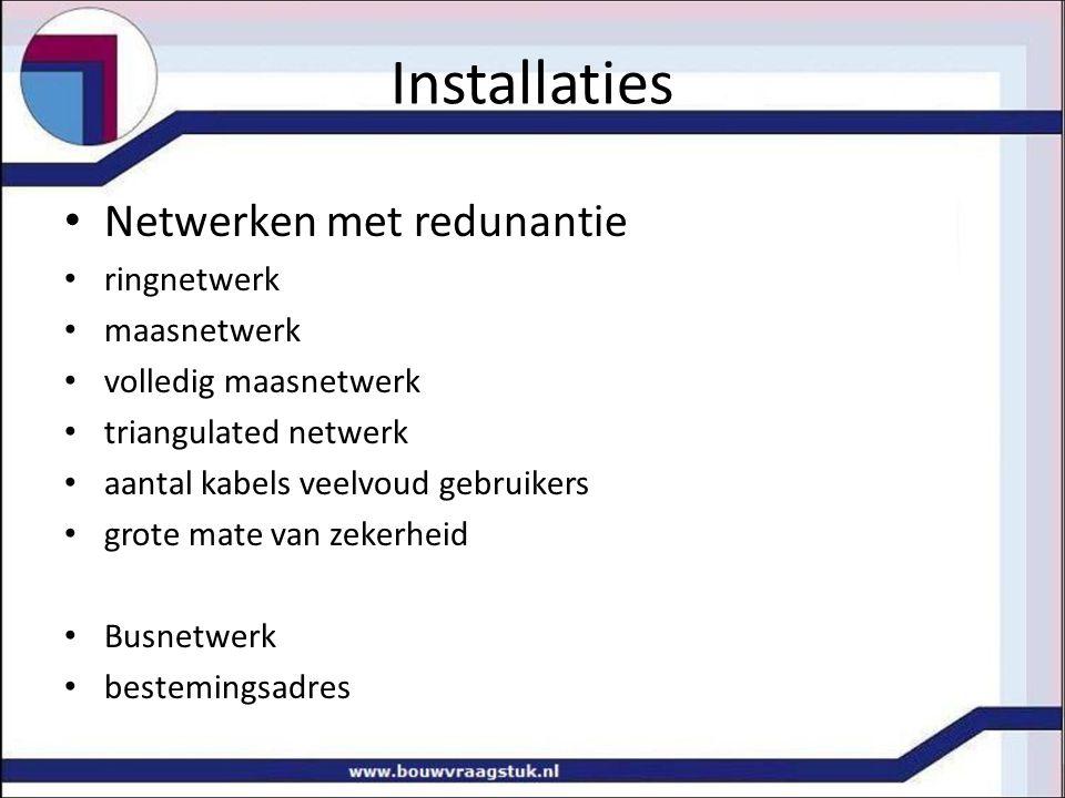 Installaties Netwerken met redunantie ringnetwerk maasnetwerk