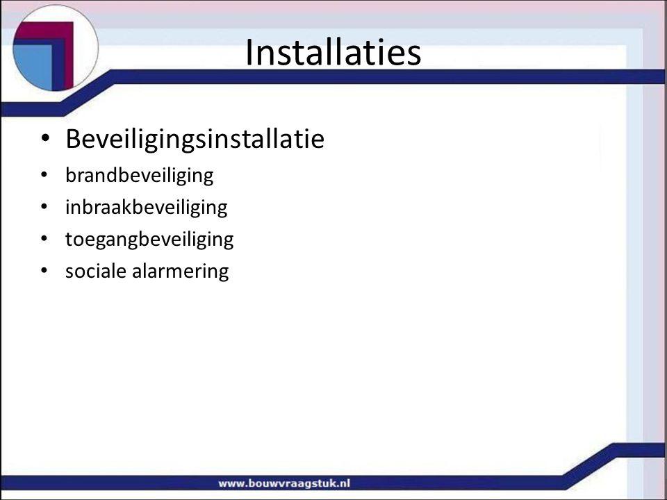 Installaties Beveiligingsinstallatie brandbeveiliging