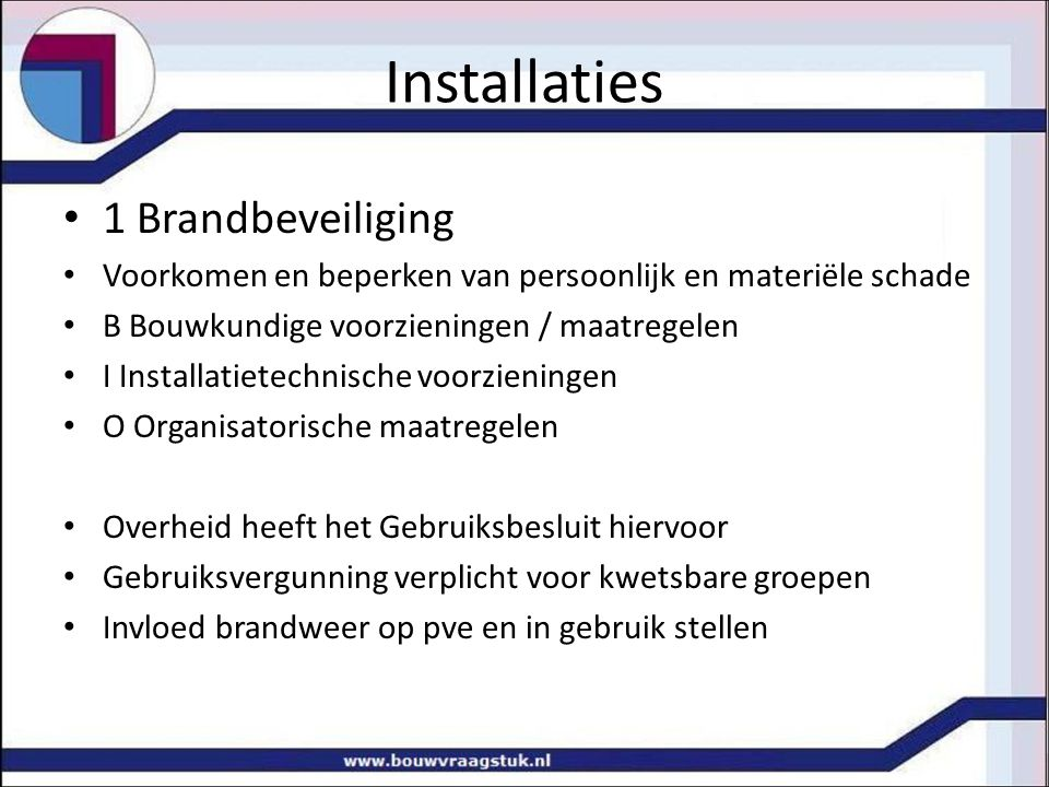 Installaties 1 Brandbeveiliging