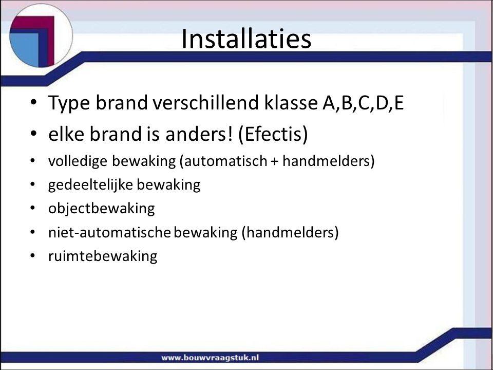 Installaties Type brand verschillend klasse A,B,C,D,E