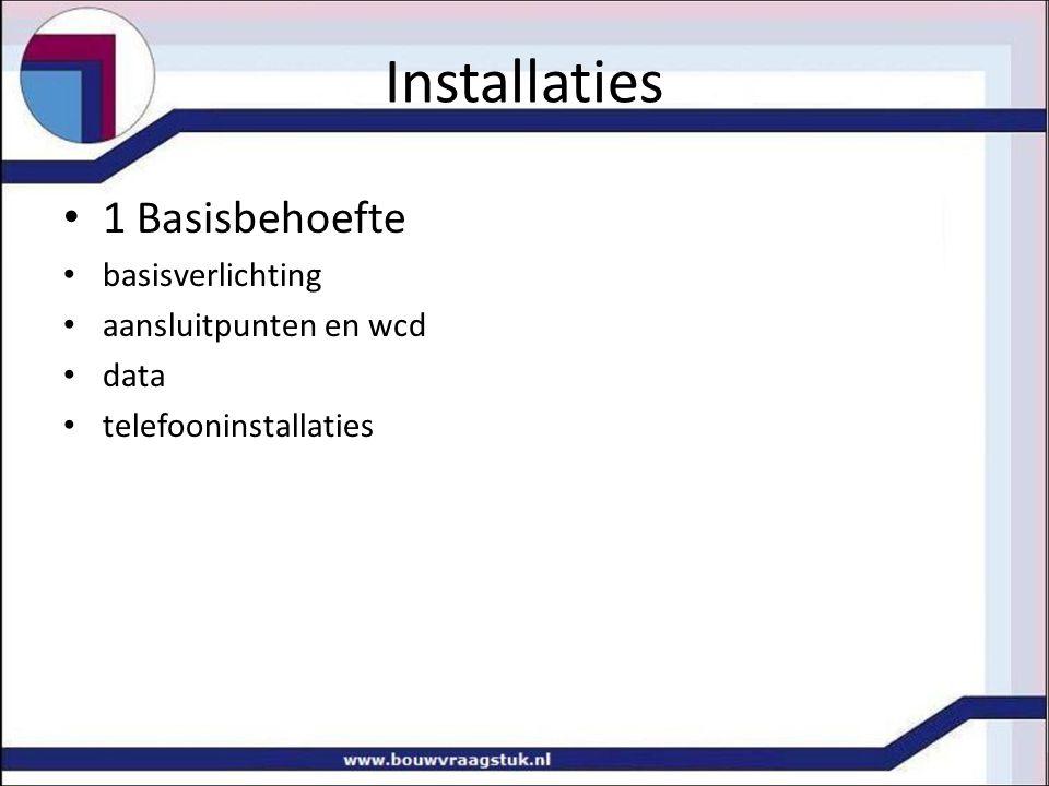 Installaties 1 Basisbehoefte basisverlichting aansluitpunten en wcd
