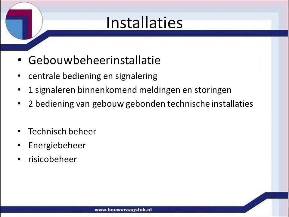 Installaties Gebouwbeheerinstallatie centrale bediening en signalering