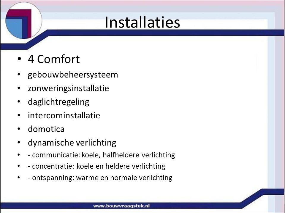 Installaties 4 Comfort gebouwbeheersysteem zonweringsinstallatie