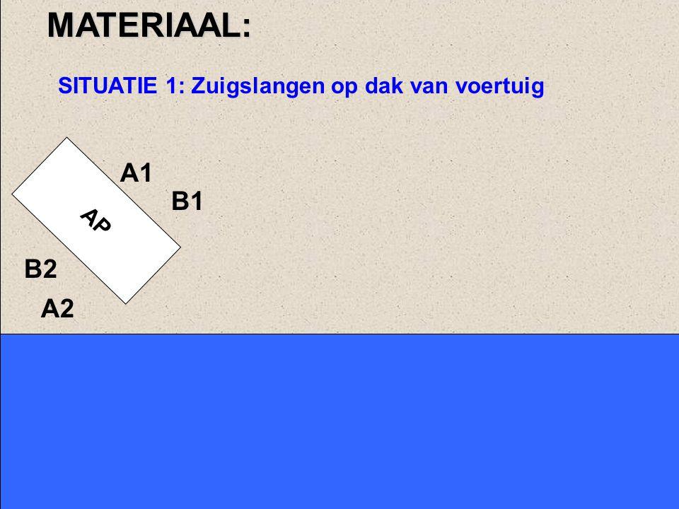 MATERIAAL: SITUATIE 1: Zuigslangen op dak van voertuig A1 AP B1 B2 A2