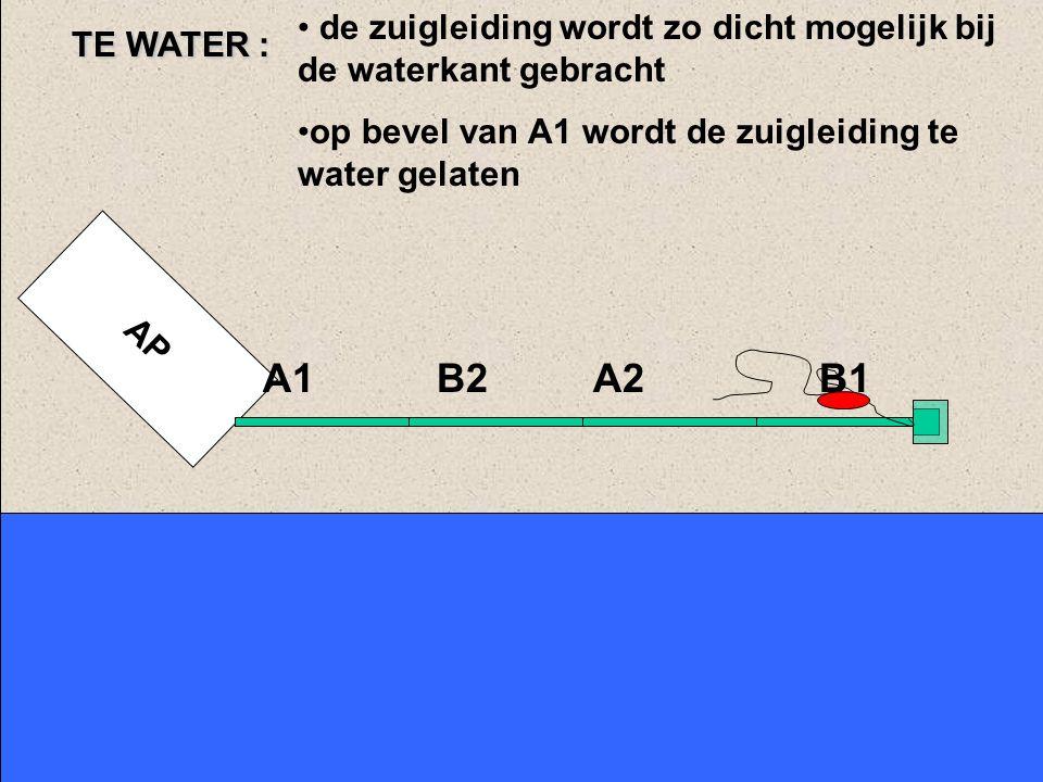 TE WATER : de zuigleiding wordt zo dicht mogelijk bij de waterkant gebracht. op bevel van A1 wordt de zuigleiding te water gelaten.