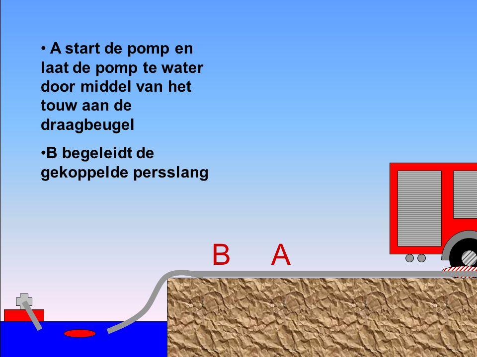 A start de pomp en laat de pomp te water door middel van het touw aan de draagbeugel