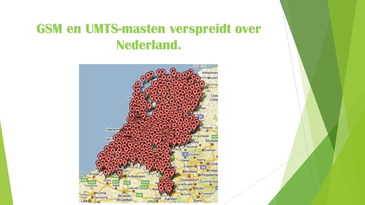 GSM en UMTS-masten verspreidt over Nederland.