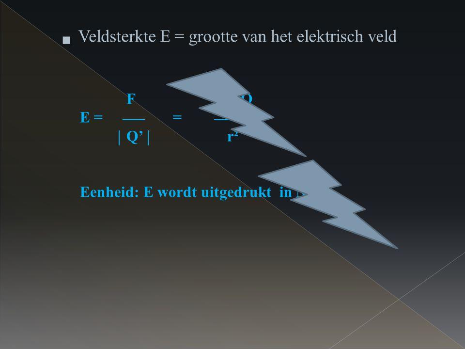 Veldsterkte E = grootte van het elektrisch veld