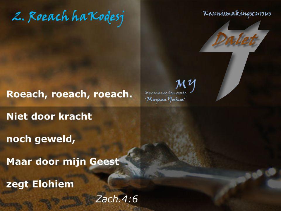 Roeach, roeach, roeach. Niet door kracht noch geweld, Maar door mijn Geest zegt Elohiem Zach.4:6