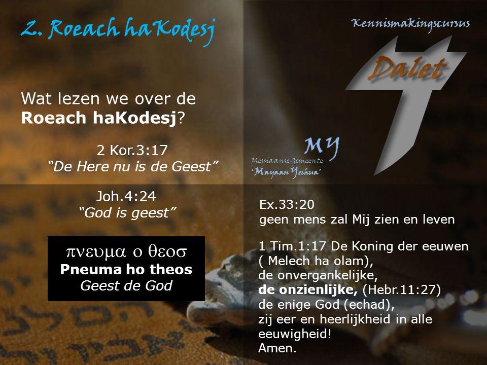 pneuma o qeos Wat lezen we over de Roeach haKodesj 2 Kor.3:17