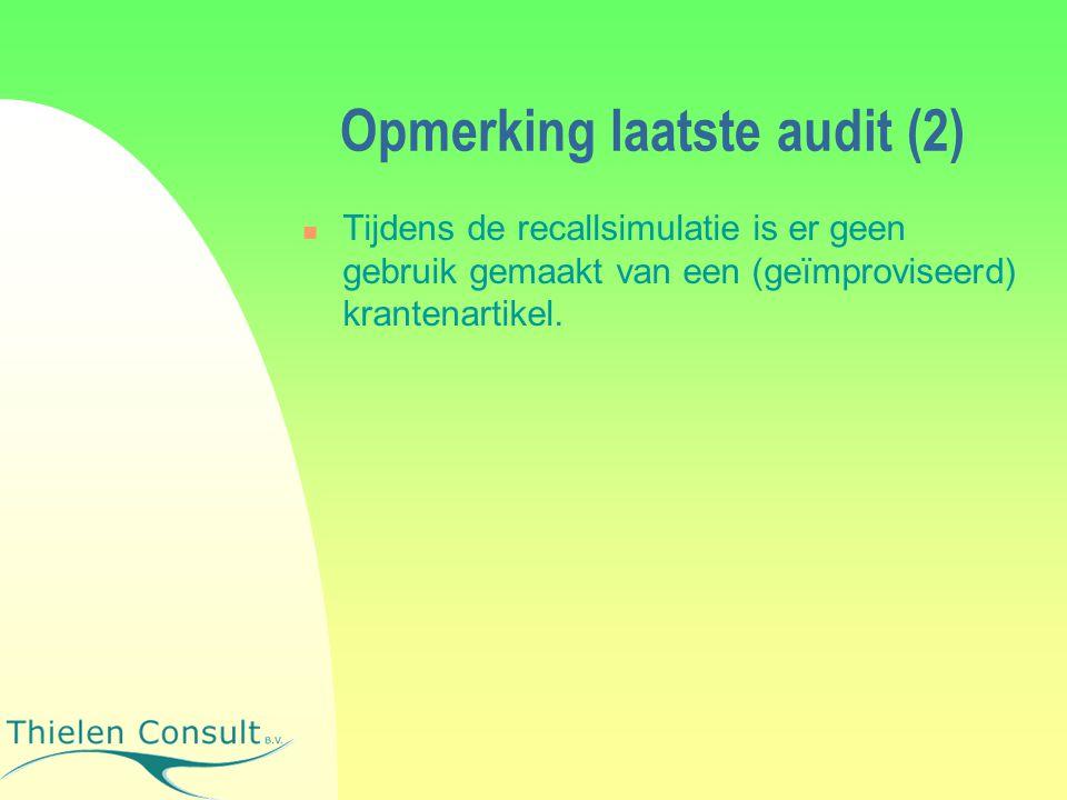 Opmerking laatste audit (2)