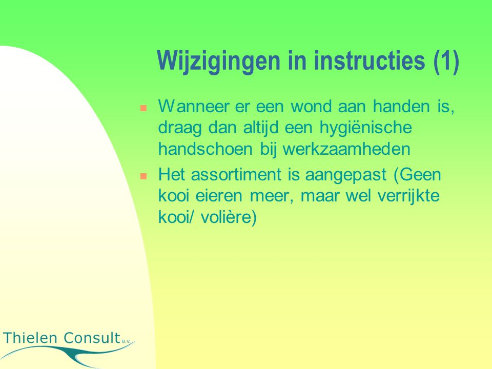 Wijzigingen in instructies (1)