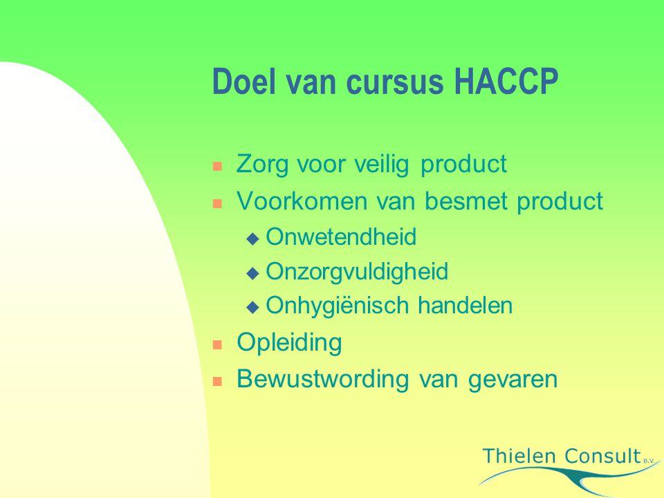 Doel van cursus HACCP Zorg voor veilig product