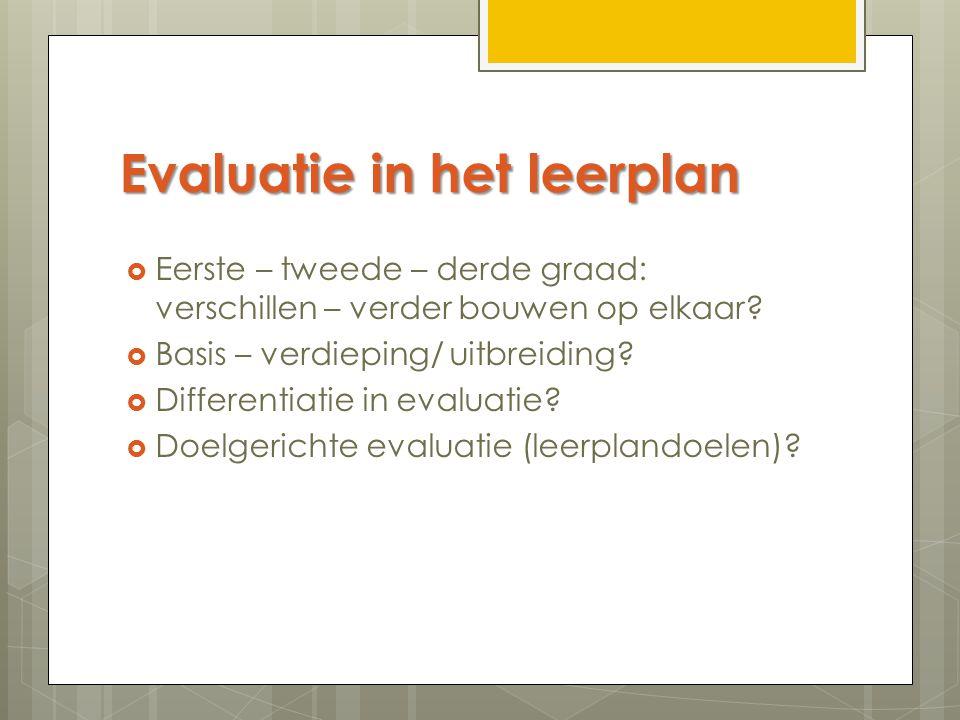 Evaluatie in het leerplan
