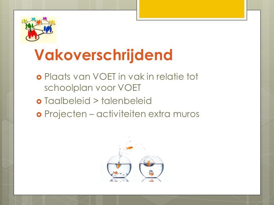 Vakoverschrijdend Plaats van VOET in vak in relatie tot schoolplan voor VOET. Taalbeleid > talenbeleid.