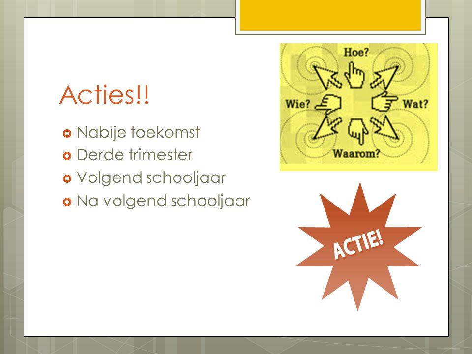 Acties!! Nabije toekomst Derde trimester Volgend schooljaar