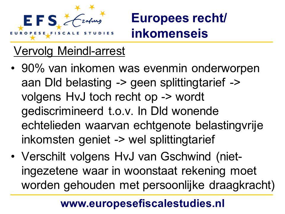 Europees recht/ inkomenseis