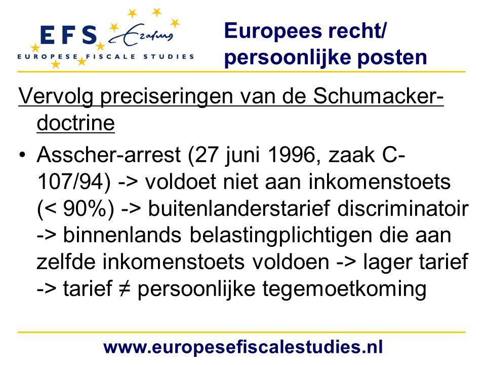 Europees recht/ persoonlijke posten