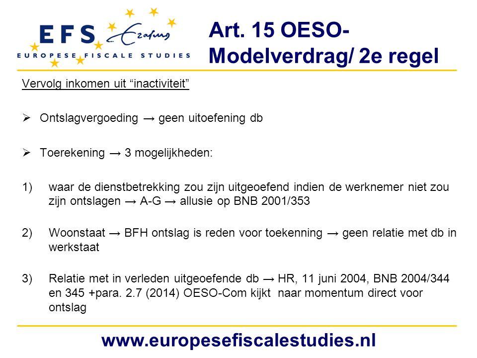 Art. 15 OESO- Modelverdrag/ 2e regel