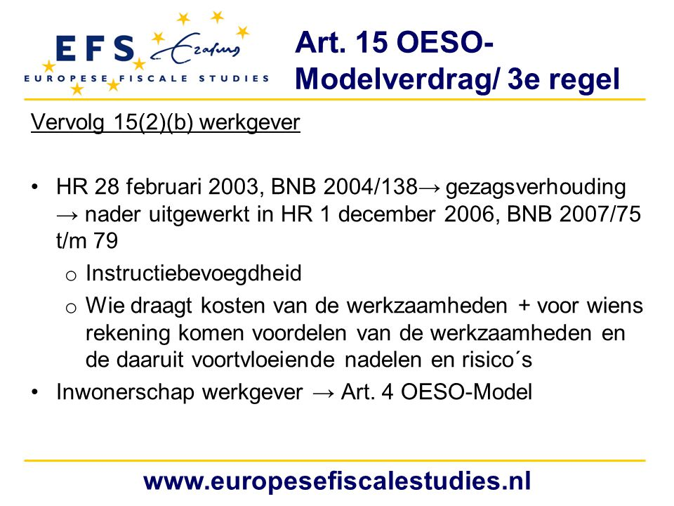 Art. 15 OESO- Modelverdrag/ 3e regel