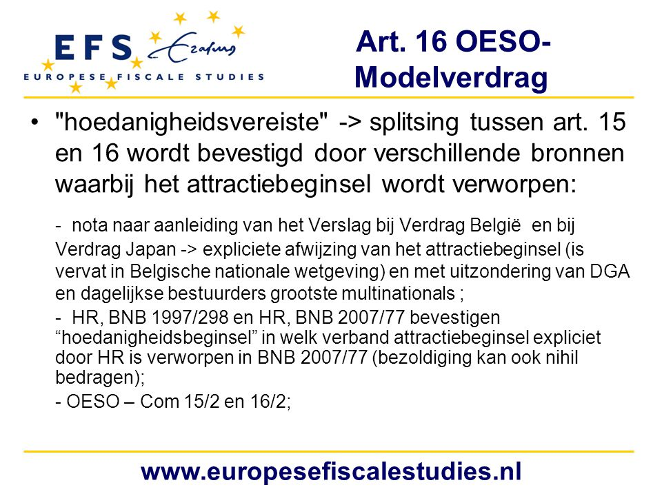 Art. 16 OESO- Modelverdrag