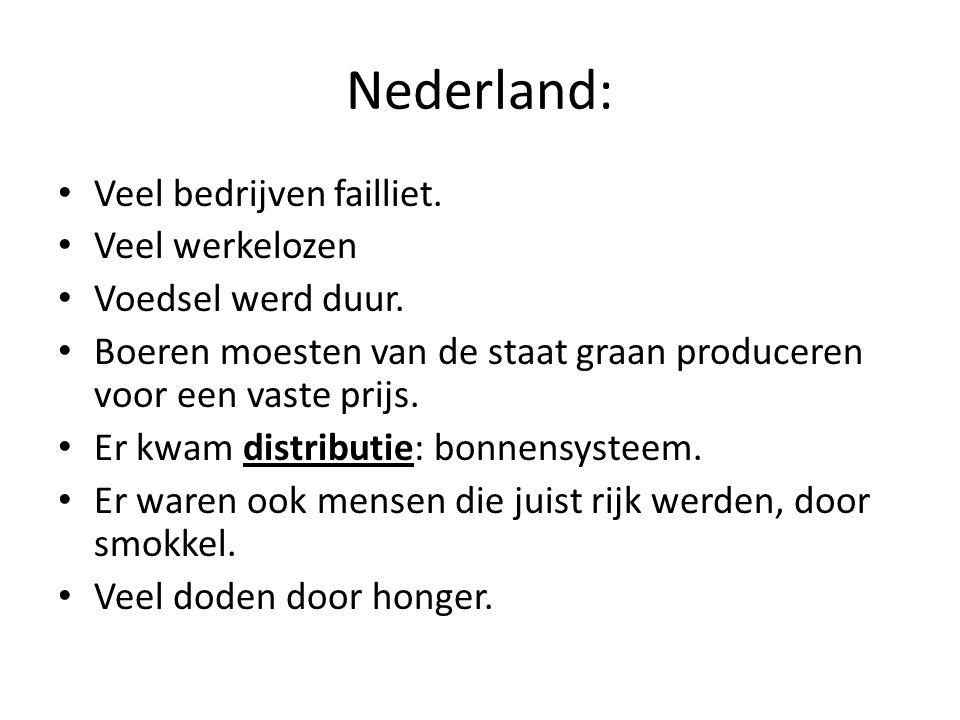 Nederland: Veel bedrijven failliet. Veel werkelozen Voedsel werd duur.