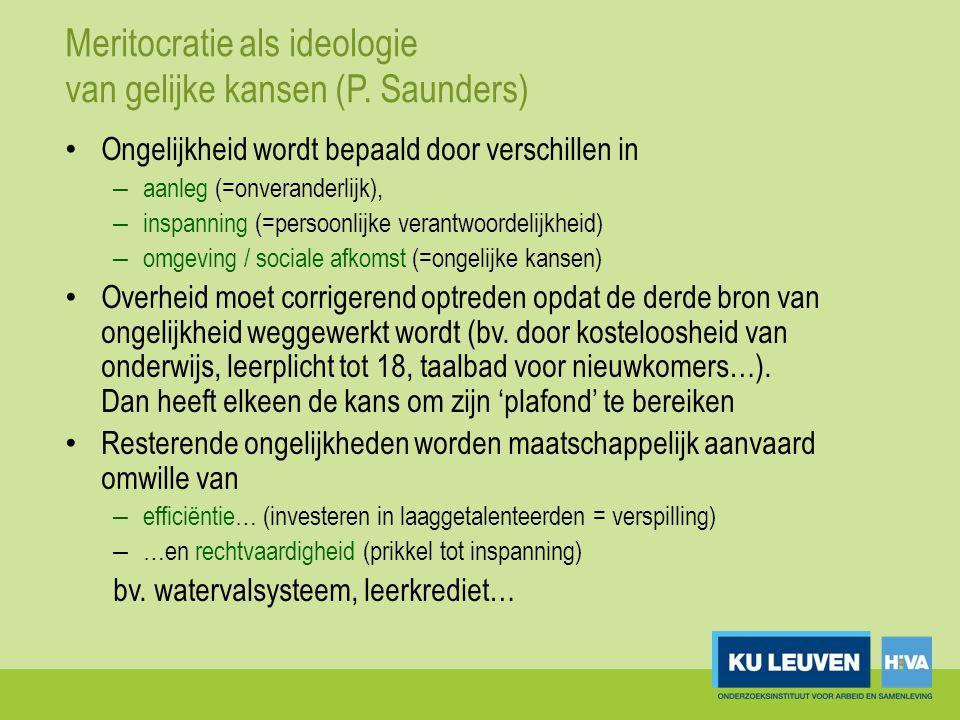 Meritocratie als ideologie van gelijke kansen (P. Saunders)