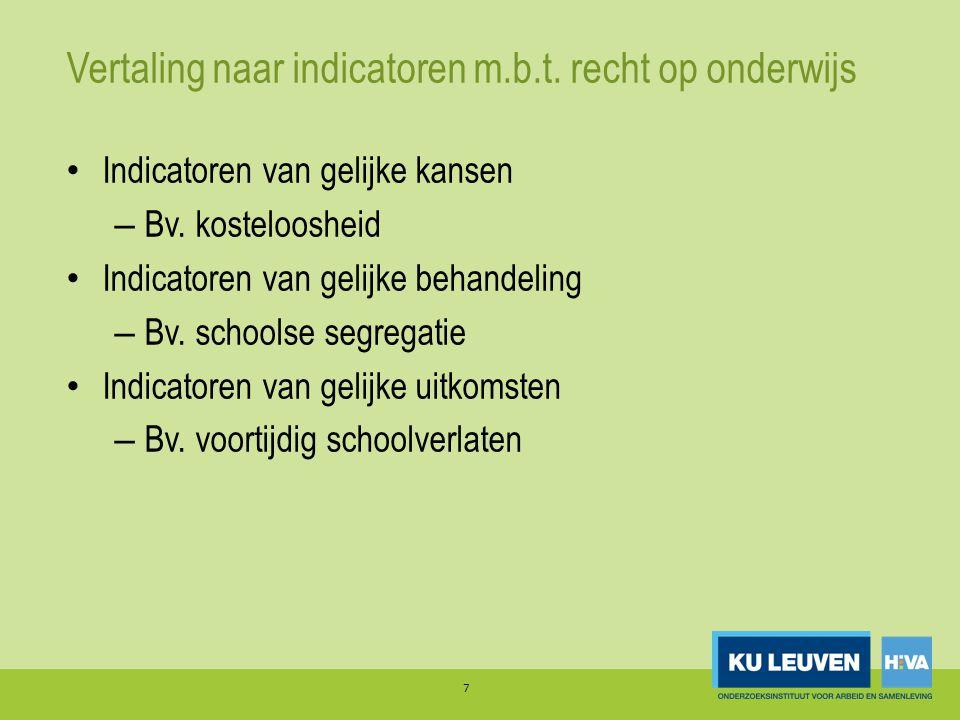 Vertaling naar indicatoren m.b.t. recht op onderwijs