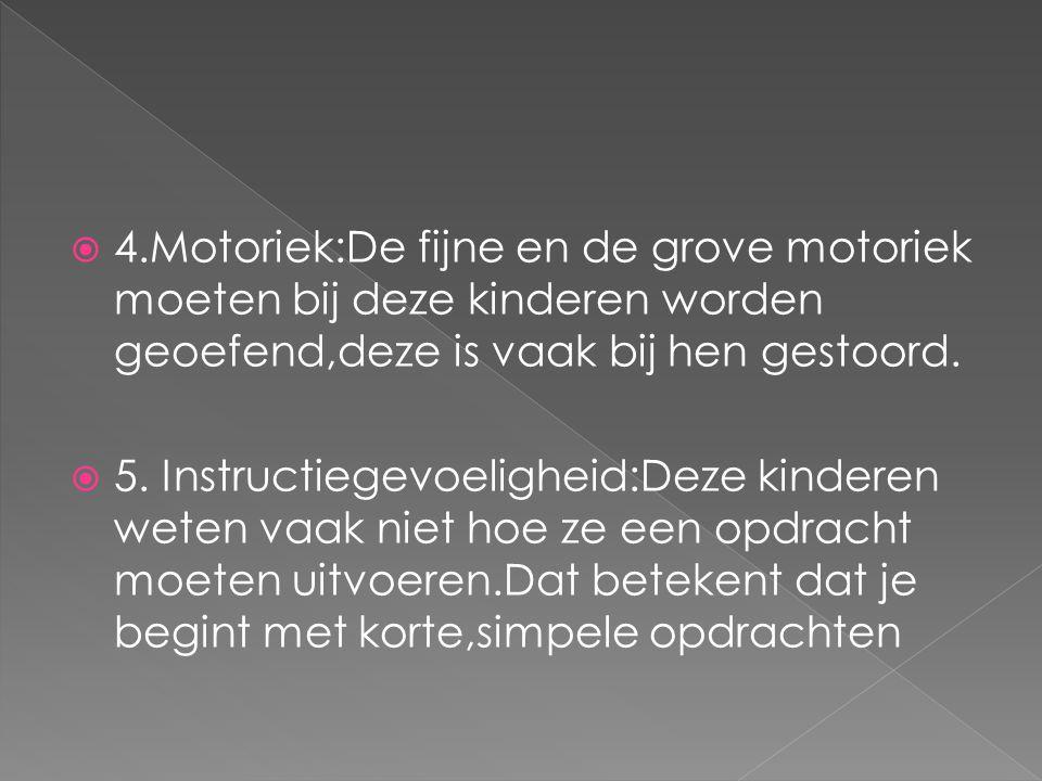 4.Motoriek:De fijne en de grove motoriek moeten bij deze kinderen worden geoefend,deze is vaak bij hen gestoord.