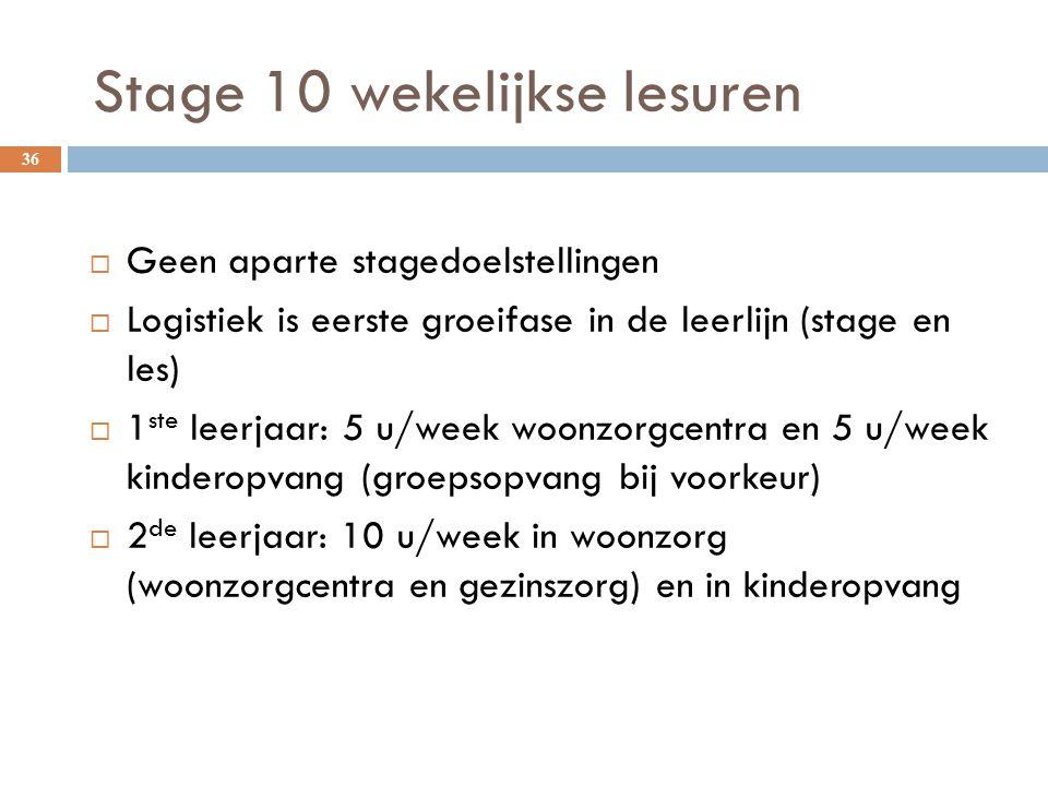 Stage 10 wekelijkse lesuren