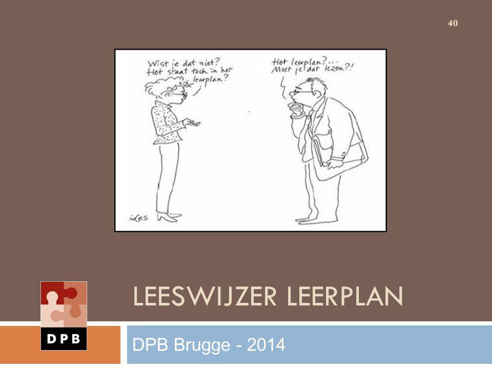 Leeswijzer leerplan DPB Brugge - 2014
