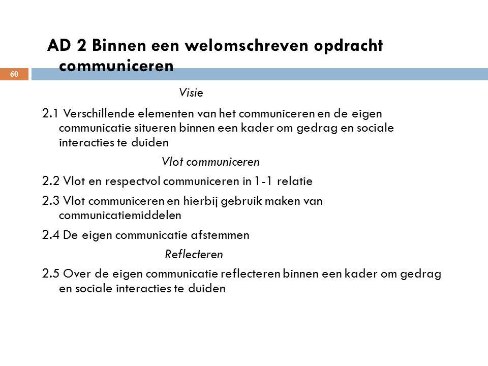 AD 2 Binnen een welomschreven opdracht communiceren Visie