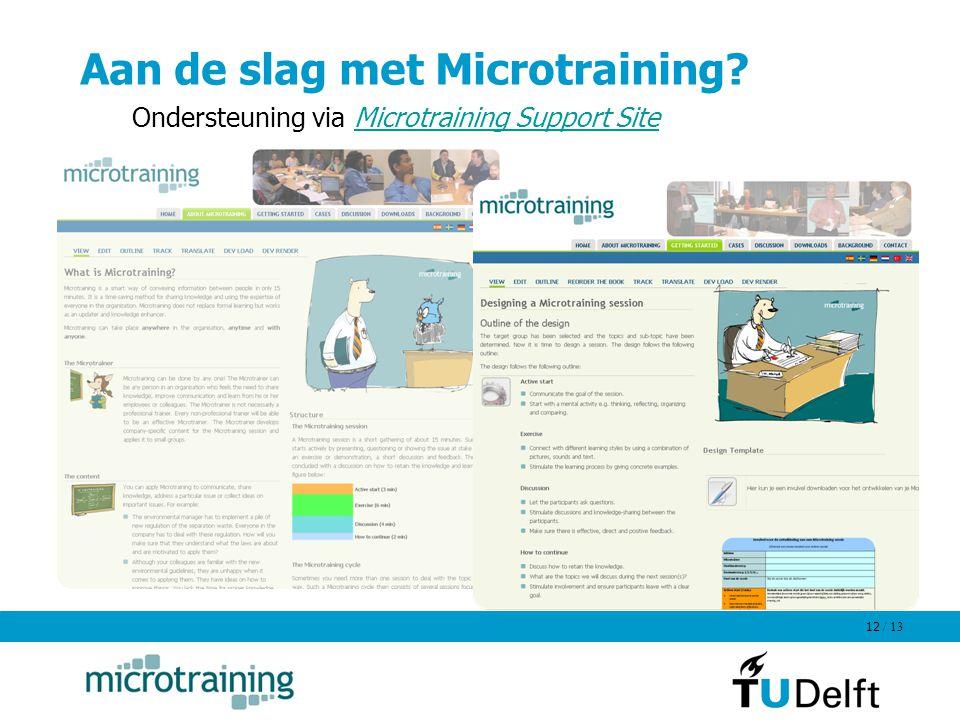 Aan de slag met Microtraining