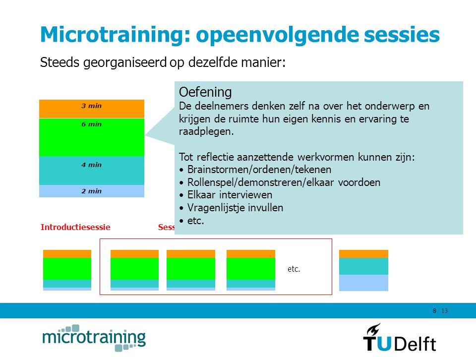 Microtraining: opeenvolgende sessies