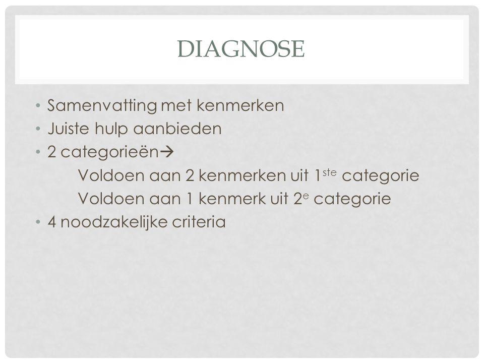 Diagnose Samenvatting met kenmerken Juiste hulp aanbieden