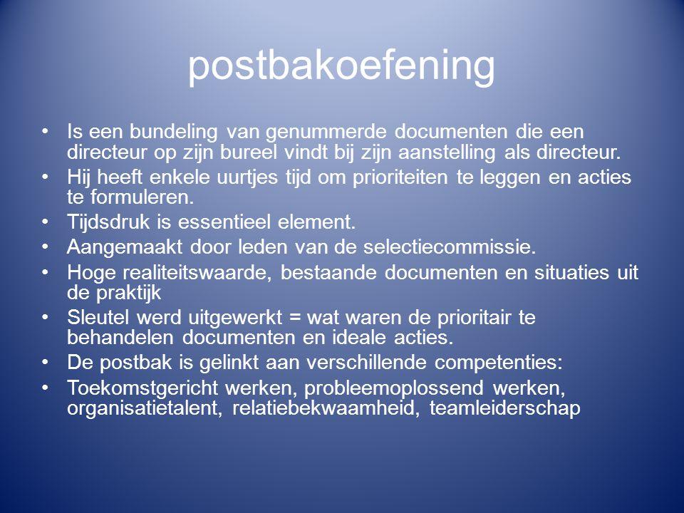 postbakoefening Is een bundeling van genummerde documenten die een directeur op zijn bureel vindt bij zijn aanstelling als directeur.