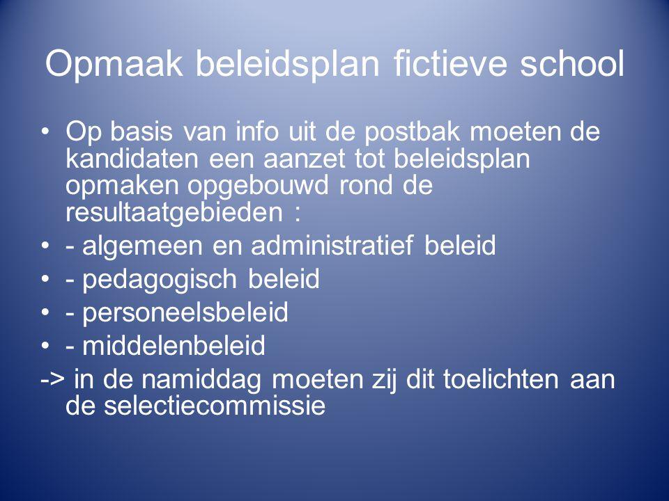 Opmaak beleidsplan fictieve school