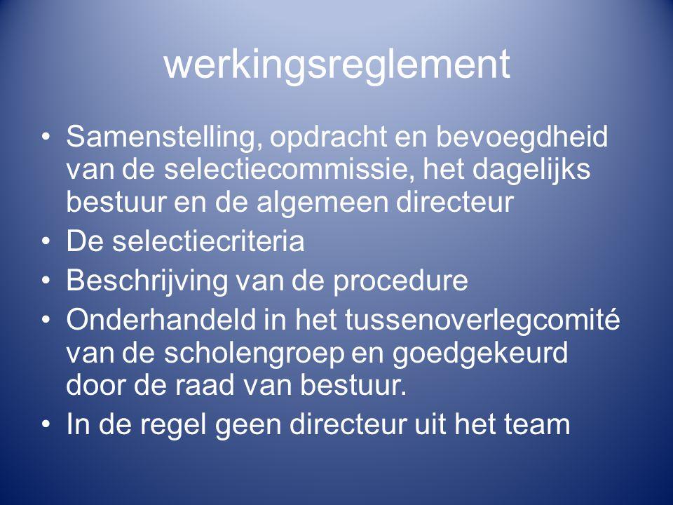 werkingsreglement Samenstelling, opdracht en bevoegdheid van de selectiecommissie, het dagelijks bestuur en de algemeen directeur.