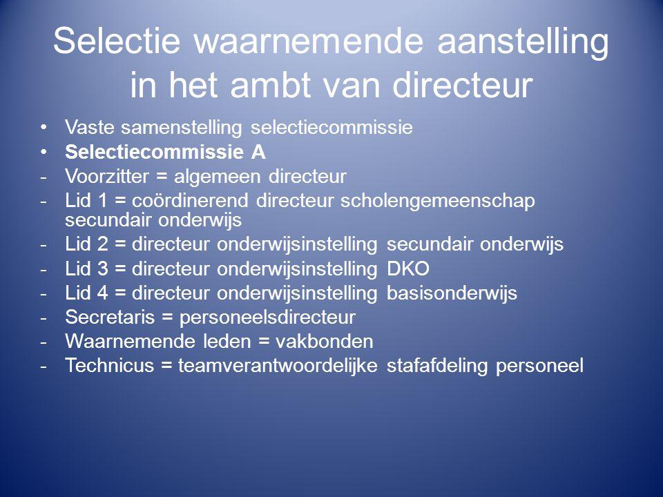 Selectie waarnemende aanstelling in het ambt van directeur