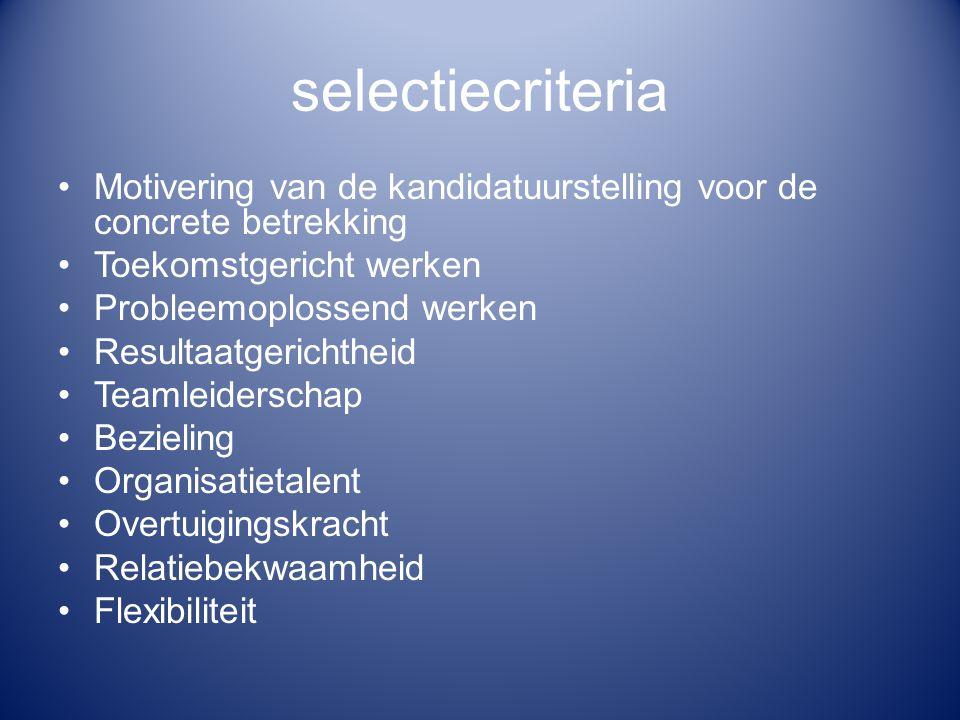 selectiecriteria Motivering van de kandidatuurstelling voor de concrete betrekking. Toekomstgericht werken.