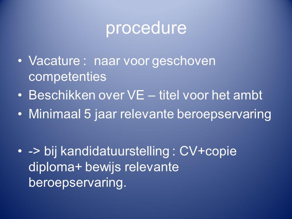 procedure Vacature : naar voor geschoven competenties