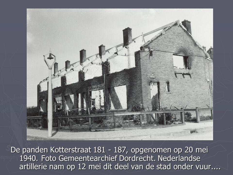 De panden Kotterstraat 181 - 187, opgenomen op 20 mei 1940