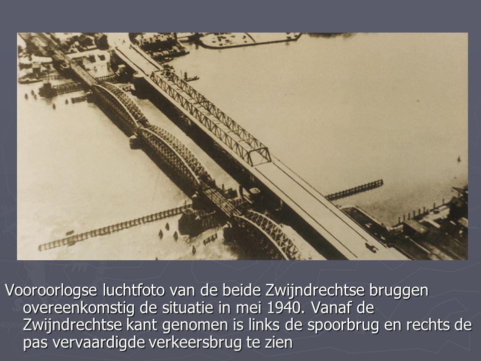 Vooroorlogse luchtfoto van de beide Zwijndrechtse bruggen overeenkomstig de situatie in mei 1940.