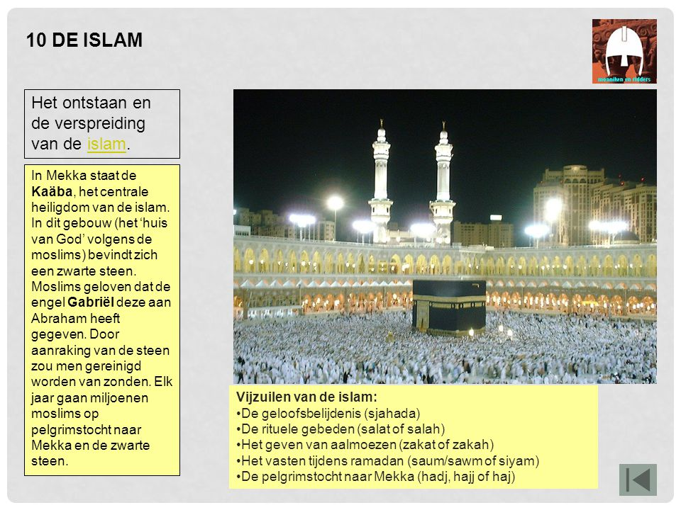 10 DE ISLAM Het ontstaan en de verspreiding van de islam.