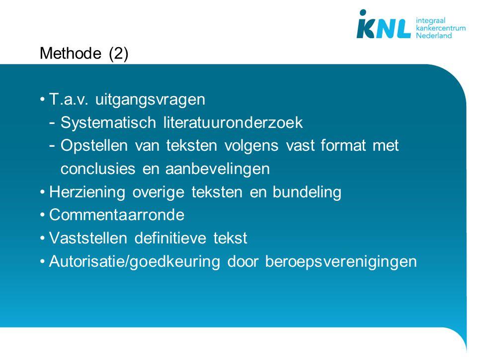 Methode (2) T.a.v. uitgangsvragen. Systematisch literatuuronderzoek. Opstellen van teksten volgens vast format met conclusies en aanbevelingen.