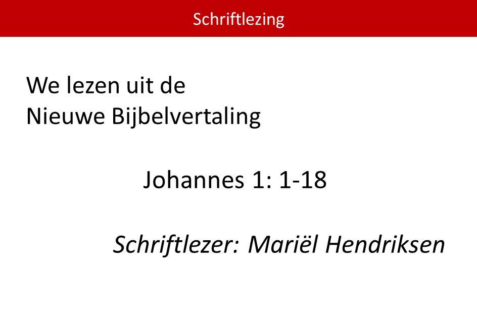 Schriftlezer: Mariël Hendriksen