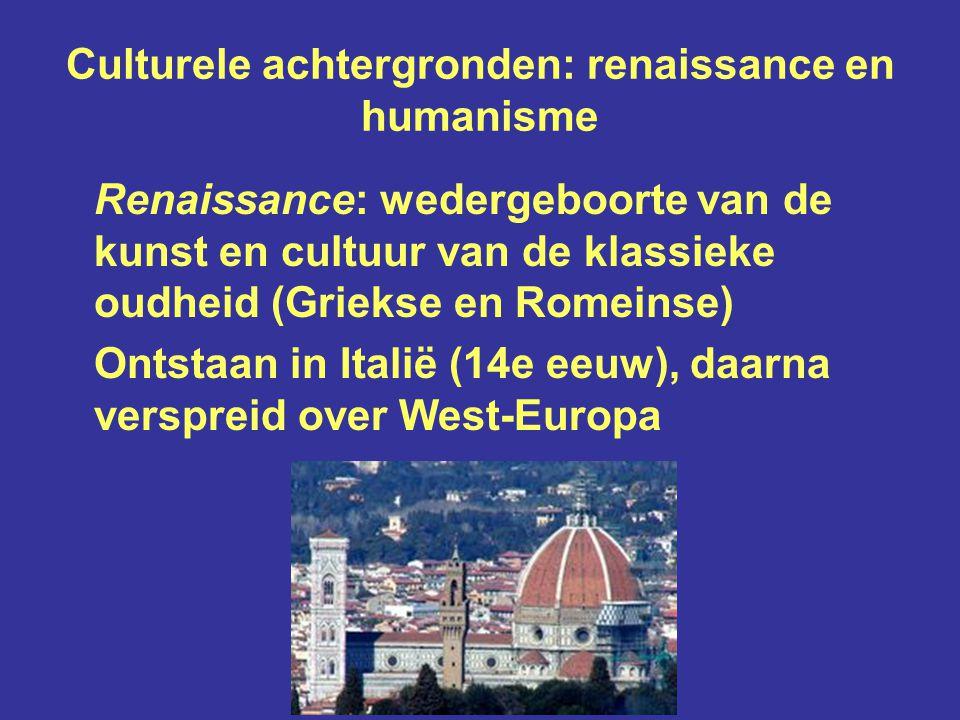 Culturele achtergronden: renaissance en humanisme