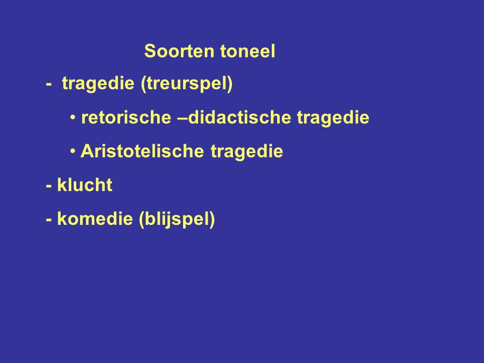 Soorten toneel - tragedie (treurspel) retorische –didactische tragedie. Aristotelische tragedie.