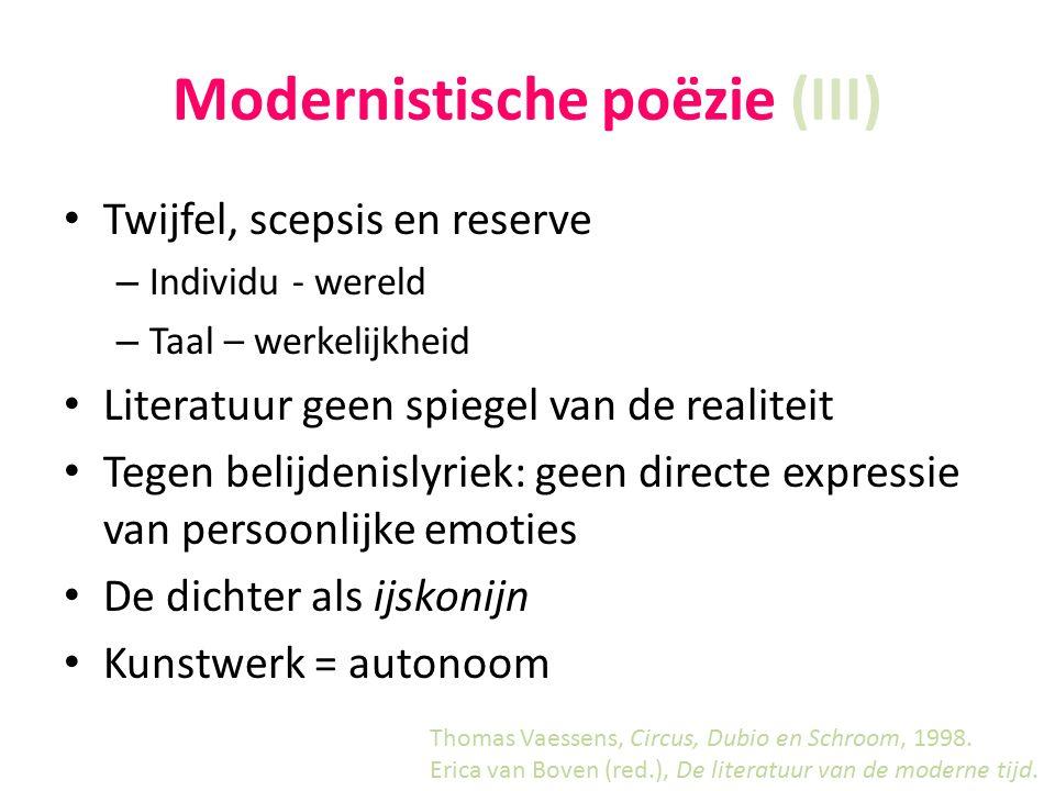 Modernistische poëzie (III)